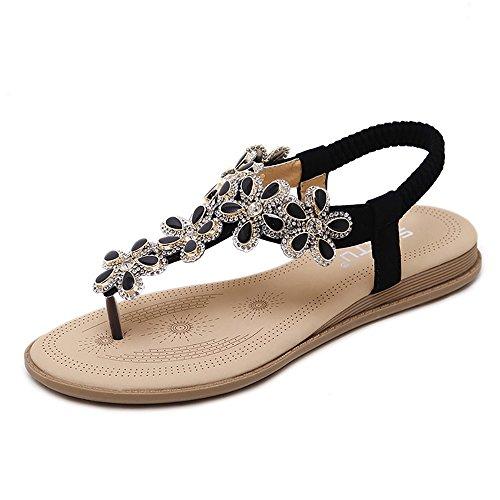 Wollanlily Womens Bohemia Flat Sandals Summer Beach Rhinestone Elastic T-Strap Flip-Flop Thong Shoes Black-01 US 8.5