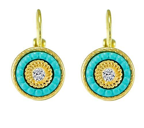 [Petite Grecian Turquoise Blue Medallion Rope Trim Crystal Drop Earrings Gold Tone] (Crystal Rope Earrings)