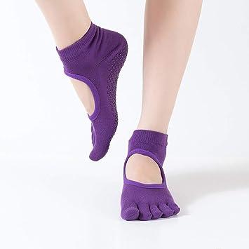 QIR-wsocks Yoga Calcetines Mujer Estiramiento Deportes Baile Fitness Yoga, Deep Purple