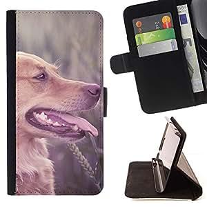 Momo Phone Case / Flip Funda de Cuero Case Cover - De pelo largo de Brown Labrador Retriever campo Perro; - Samsung Galaxy Note 5 5th N9200