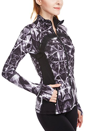 icyzone Women's Running Shirt Full Zip Workout Track Jacket With Thumb Holes – DiZiSports Store