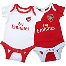 Arsenal FC Official Unisex Baby Football Crest Bodysuit (Pack Of 2)