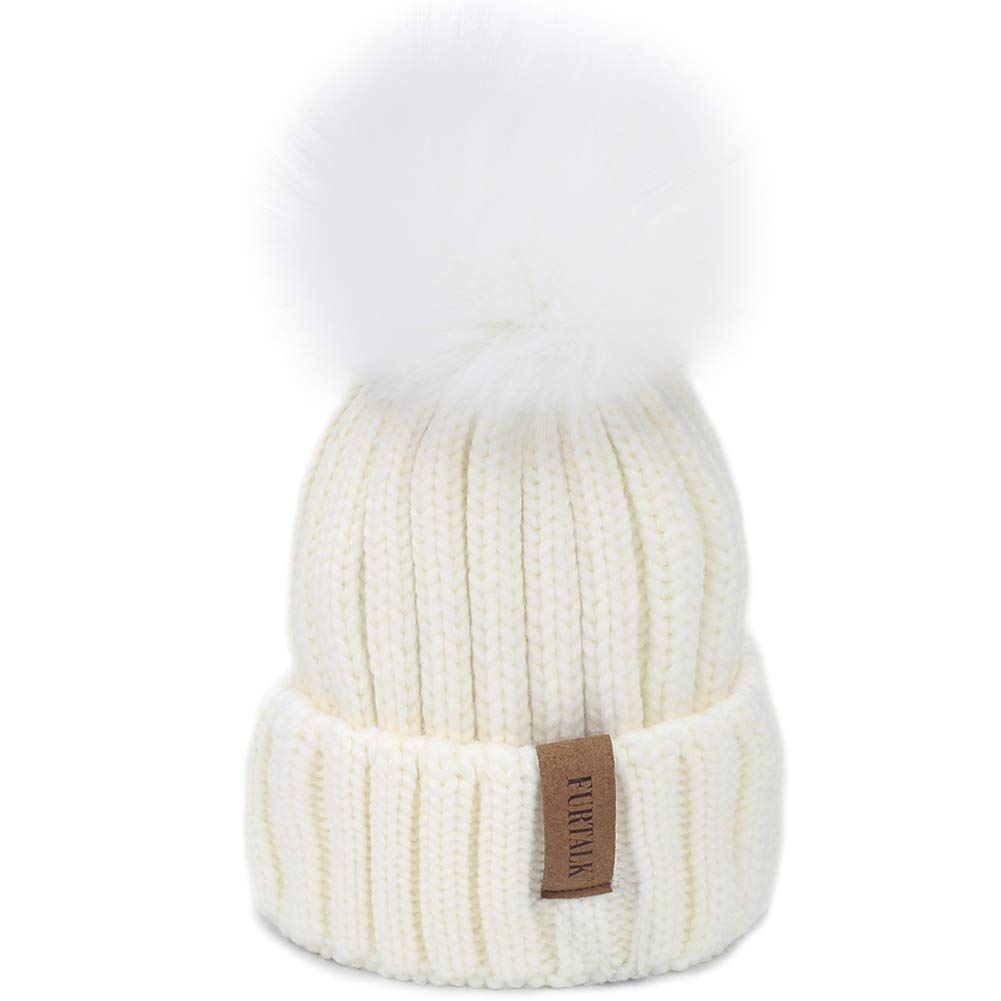 FURTALK Kids Winter Knitted Faux Fur Pom Pom Cap Toddler Boys Girls Kids Beanie Hat (Ages 1-6) (One Size, White+White pom)