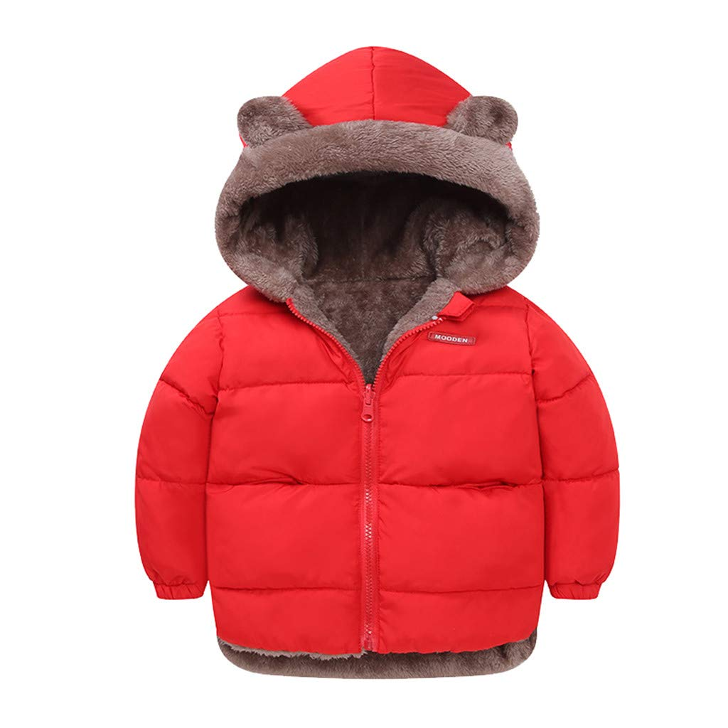 Gallity Two Sided Design -Toddler Baby Winter Fleece Puffer Jacket Cute Cartoon Bear Hooded Coat Cotton Padded Outwear for Boys Girls(1-5 Y) (12-18 Months, Red) by Gallity Baby Coat