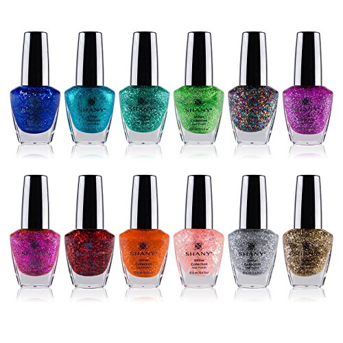 Polish Varnish - SHANY Nail Polish Set - 12 Twinkling Shades with Gorgeous Semi Glossy and Shimmery Finishes - Glitter Collection