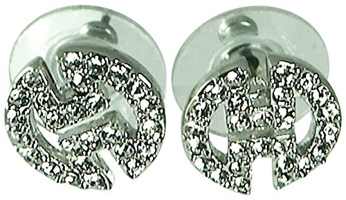 - DESIGNER INSPIRED-PAVE CRYSTAL STUD EARRING-SILVER PLATE-PIERCED