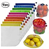 Brotrade Reusable Mesh Produce Bags-Washable Set of 10 Premium Bags Transparent With Tare Weight on Tags for Shopping Storage,Toys Fruit and Vegetable one Size 11'' X 13.5''