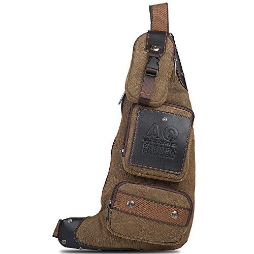 Tanchen Vintage Style Outdoor Sports Casual Canvas Unbalance Backpack Crossbody Sling Bag Shoulder Bag Chest Bag for Men