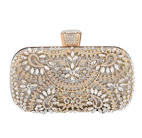 Evening Clutch Bags Purse Handbag for Women Wedding Prom Party (SILVER)