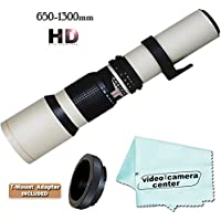 Vivitar HD 650-1300mm F/8-F16 Telephoto Zoom Lens For NIKON D3200 D800 D7000 D5100 D3100 D3000 D5000 D3000 D90 D40 D40X D7100 + Micro-Fiber Cloth + T-Mount