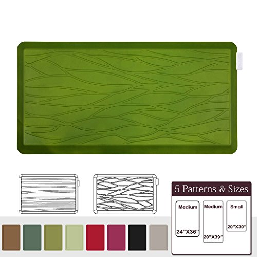 NUVA Anti Fatigue Standing Floor Mat 39 x 20 in, 100% PU Comfort Ergonomic Material Unlike PVC leather mats! 4 Non-slip PU Elastomer Strips on Bottom, 5 Safety Test by SGS (Olive Green, Wave Pattern)