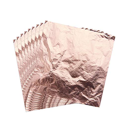 PandaHall Elite 200 Sheets Imitation Rose Gold Leaf Foil Paper Arts, Gilding Crafting, Decoration DIY, 5.5 5.5 inches