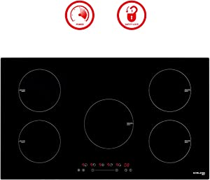 "36"" Induction Cooktop, GASLAND Chef IH90BF 220V Built-in Electric Induction Cooker, 5 Burner 36 inch Electric Induction Stove Top, 5-burner Built In Induction Hob, Timer, Safety Lock, 9 Heating Levels"