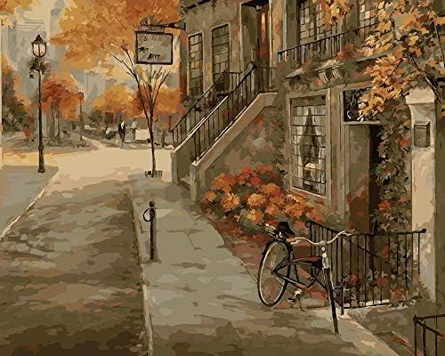 数字キット 油絵 子供 大人 初心者 リビングと寝室の飾りに最高キットアートギフト-ドアの前の自転車 40* 50 cm(フレームレス)