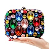 Techecho Bridal Clutch Purse Womens Crystal Beaded Rhinestone Women's Clutch Bag, Ladies Evening Bag Bridal Wedding Bag Handbag Prom Bag Frosted Handbag Party (Color : Colorful)