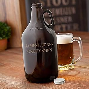 Personalized Amber Beer Growler - Monogrammed Beer Growler - Amber Glass Growler