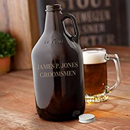 Personalized Amber Beer Growler - Beer Brewing Growlers Custom Name Gifts for Guys