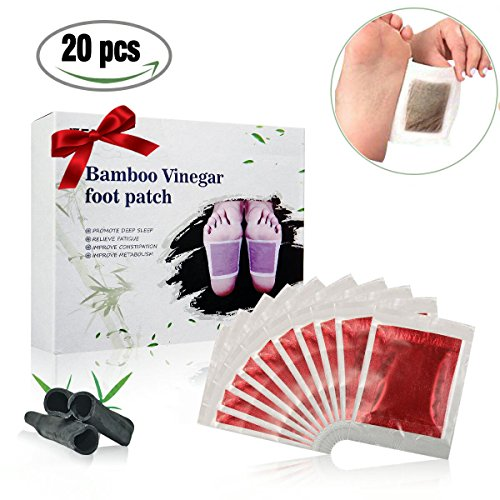 (Foot Pads, LuckyFine Bamboo Vinegar Charcoal Foot Patch, 20 Pcs Relieve Tired Foot Pads, Pain Relief Foot Care Relaxing Sheet Help Deep Sleep)