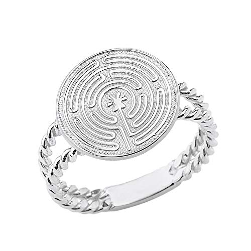 Solid Sterling Silver Ancient Chartres Labyrinth Maze Design Double Rope Ring (Size 9) ()