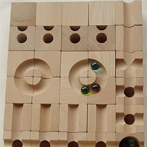 Ball Track Basic Set 30 Piece Wooden Marble Run European Made Puzzle Blocks by DUOLAIMENG (Image #7)