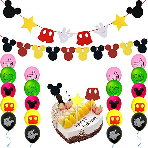(Mickey Mouse Party Supplies Banner Decorations Kit,2 Mickey Mouse Banner,20 Mickey Mouse Balloons and 4 Pcs Cake Cupcake Toppers for Baby Birthday Party Mickey Mouse Theme Party)