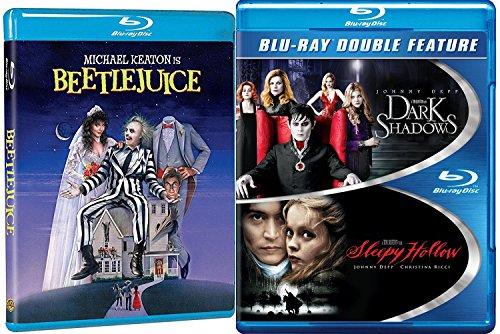 Tim Burton Beetlejuice Blu Ray + Sleepy Hollow & Dark Shadows Johnny Depp Tim Burton Fantasy Action set