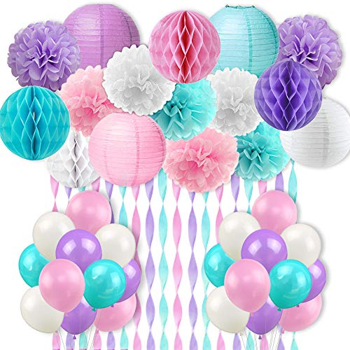 (Mermaid Unicorn Party Decorations Pink Purple White Aqua Crepe Paper Mermaid Balloons Tissue Paper Pom Poms Lanterns for Girls Birthday Baby Shower 59)