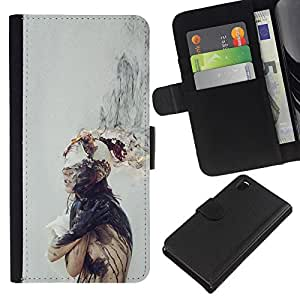 KingStore / Leather Etui en cuir / Sony Xperia Z3 D6603 / Mente Pensamiento Profundo triste gris;