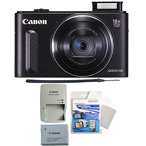 Canon PowerShot SX610 HS 20.2MP Wifi / NFC Enabled 18X Optical Zoom Point and Shoot Digital Camera + Screen Protectors and More