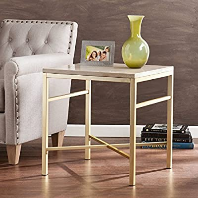 "Faux Stone End Table, Cream Travertine and matte brass finish | 22""W x 22""D x 23.75""H"