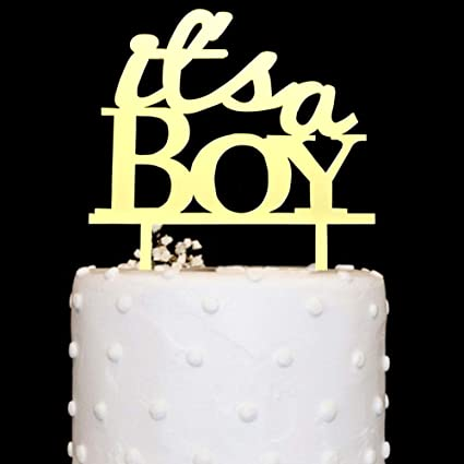 5462f1374929e Amazon.com: It's A Boy Cake Topper Acrylic Gold Mirror for Boy Baby ...