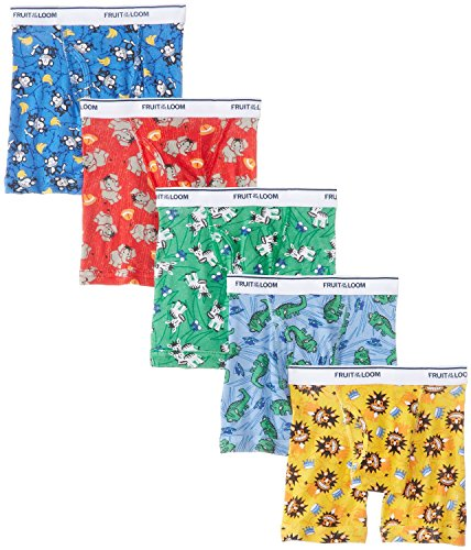 Fruit of the Loom 5Pack Boys Assorted Cotton Boxer Briefs Kids Underwear M