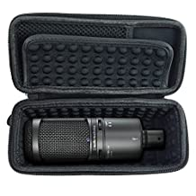 CASEMATIX Padded AT2020 Microphone Case for AT2020 USB , AT2020USB PLUS , AT2035 , AT2050 , AT4033a , AT4040 , AT4050 , ATR2500-USB , Windscreen and Small Cable Accessories