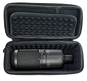 CASEMATIX Padded AT2020 Microphone Case AT2020 USB, AT2020USB Plus, AT2035, AT2050, AT4033a ...
