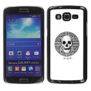 MobileHut / Samsung Galaxy Grand 2 SM-G7102 SM-G7105 / Skull Viking White Black Death Time / Delgado Negro Plástico caso cubierta Shell Armor Funda Case Cover