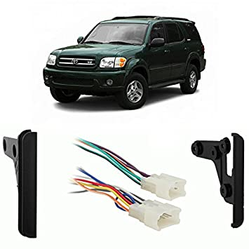 51sc8o4ztYL._SY355_ amazon com fits toyota sequoia 2003 2007 double din harness radio wiring harness for 2004 toyota sequoia at readyjetset.co