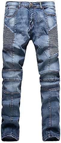 Just No Logo Men's Straight Slim Fit Biker Jeans with Zipper