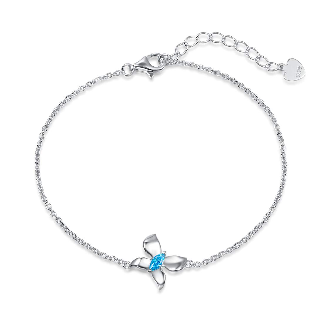 6 Fancime White Gold Plated 925 Sterling Silver CZ Cubic Zirconia Delicate Butterfly Bracelet Fine Jewelry Gifts For Women Girls 2 Extender