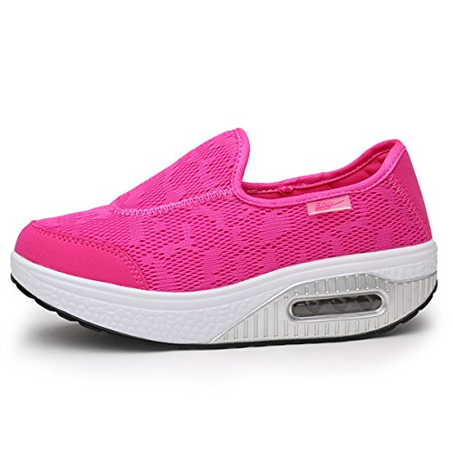 Gracosy Slip-On Platform Shoes,Women Breathable Pure Color Swing Rocker Shape Ups Casual Walking Sneaker Rose 7 B(M) US (Ups Easy Trainers)