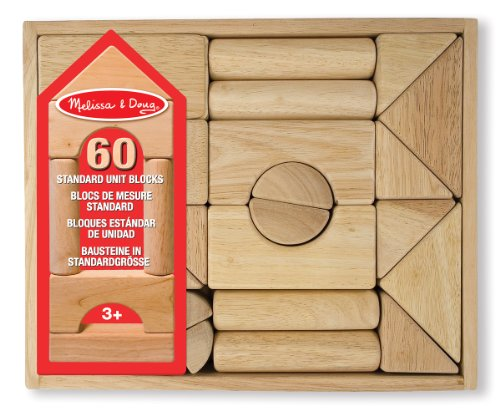 Standard Blocks Building Unit (Melissa & Doug Standard Unit Building Blocks - Natural Hardwood (60 Pieces))