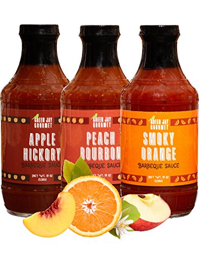 (Green Jay Gourmet BBQ Sauce - Sweet Sampler - Smoky Orange, Apple Hickory & Peach Bourbon Barbecue Sauce - All-Natural BBQ Sauce for Meats, Veggies & Other Foods - 19 Ounces, Pack of 3 )