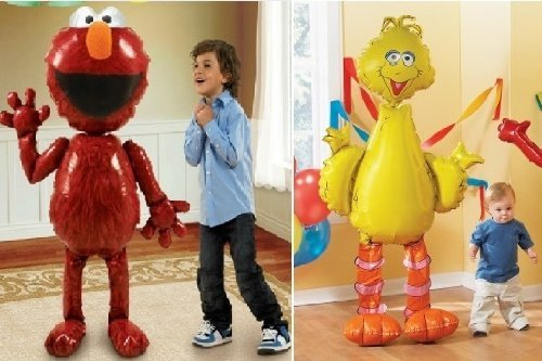 [ELMO + BIG BIRD Sesame Street HUGE Air WALKER AIRWALKER Birthday Party Balloons by Lgp] (Sesame Street Birthday Party Supplies)