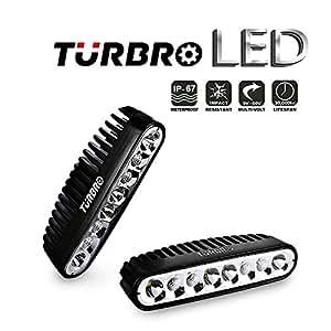 TURBRO 2 Pack 7'' 9-32V 40W OSRAM Combo LED Work Light Off-road Light Bar Spreader Light Deck/Marine Lights for Boat (Black)