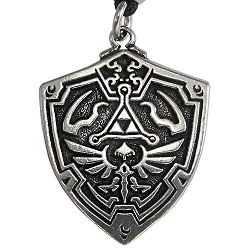 Pewter Hylian Shield Legend of Zelda Pewter Necklace (Video Game Necklace)
