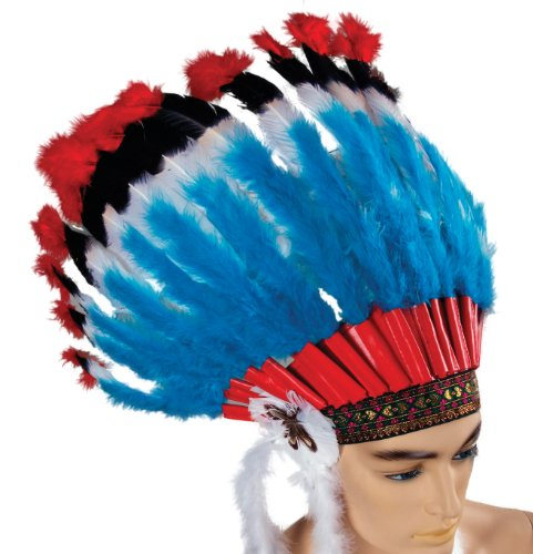 Forum Deluxe Native American Feather Headdress, Red/Blue, One Size
