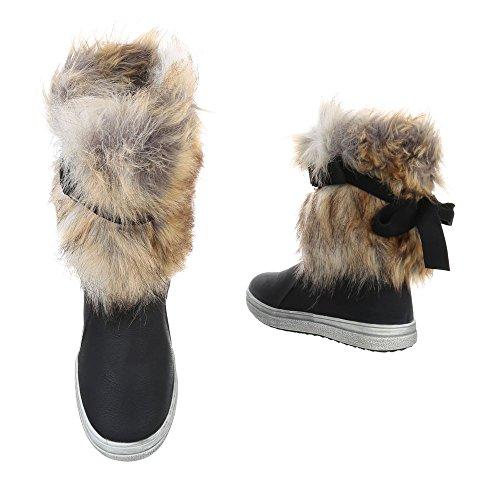 Ital-Design Flache Stiefeletten Damenschuhe Klassische Stiefel Moderne Reißverschluss Stiefeletten Schwarz