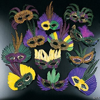 12 Feather Masks Costume Party Masquerade