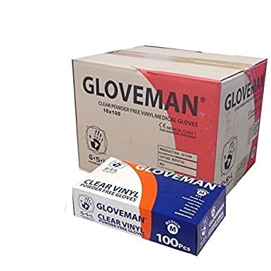 VINYL GLOVES - POWDER FREE, NON LATEX AND CLEAR, 1 Case (10 boxes of 100 gloves, 1,000 gloves total) , SIZE MEDIUM - NEW- CASE DEAL Gloveman