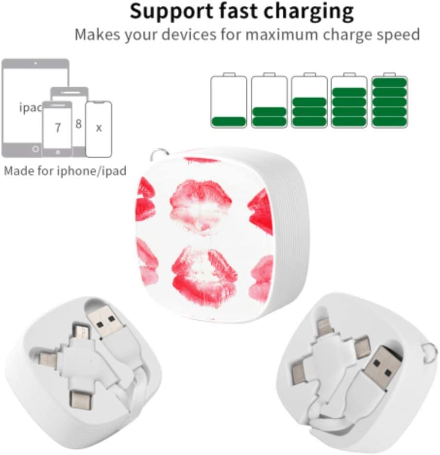 Mini USB Cable Lipstick Kiss Marks Multi 3 in 1 Retractable Fast Charging Multi Cable with Micro USB//Type C Compatible with Cell Phones Tablets and More