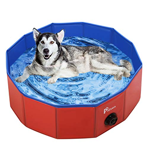 Pidsen Foldable Grooming Pool for Pet Dogs,Dog Grooming Bathing Tub Pet Puppy Dogs or Cats ((80 x 20cm) 31.5''.D7.87''.H, Red)